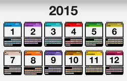 2015 Vector Calendar Icons Set. January, February, March, April, May, June, July, August, December, November, October Vector Illustration