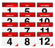 2015 Vector Calendar Icons Set. On white background Vector Illustration