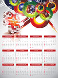Vector Calendar 2015 illustration on abstract color background. Royalty Free Stock Photo