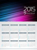 Vector Calendar 2015 illustration on abstract color background. Royalty Free Stock Photos