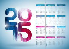 Vector Calendar 2015 illustration with abstract color design on clear background. Royalty Free Stock Photos