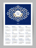 Vector Calendar for 2016 with illustration in Eastern Style. Vector Calendar for 2016 with bright ornate illustration in Eastern Style. Template with floral Royalty Free Stock Photography