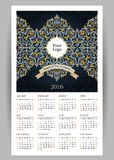 Vector Calendar for 2016 with illustration in Eastern Style. Vector Calendar for 2016 with bright ornate illustration in Eastern Style. Template with floral Royalty Free Stock Photos