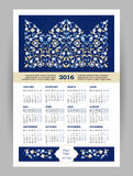 Vector Calendar for 2016 with illustration in Eastern Style. Vector Calendar for 2016 with bright ornate illustration in Eastern Style. Template with floral Royalty Free Stock Image
