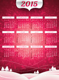 Vector Calendar 2015 illustration on a landscape background. Stock Photos