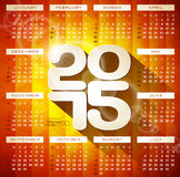 Vector Calendar 2015 illustration with long shadow on abstract geometric background.  Royalty Free Stock Images