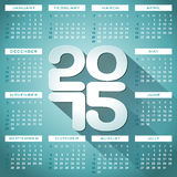 Vector Calendar 2015 illustration with long shadow on black background. Royalty Free Stock Photo