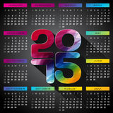 Vector Calendar 2015 illustration with long shadow on dark background. Royalty Free Stock Photography