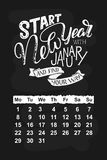 Vector calendar for January 2018. Hand drawn lettering quotes for calendar design Stock Image