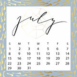 Vector calendar for July 2018. Royalty Free Stock Photography