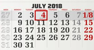 Vector calendar of july 2018 Royalty Free Stock Images
