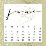 Vector calendar for June 2018. Hand drawn letters for calendar design Stock Image