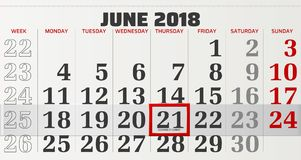 Vector calendar of june 2018. With slidable red frame and beginning of summer in focus Royalty Free Stock Photography