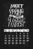 Vector calendar for March 2018. Hand drawn lettering quotes for calendar design Royalty Free Stock Images
