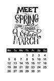 Vector calendar for March 2018. Hand drawn lettering quotes for calendar design Stock Photos