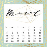 Vector calendar for March 2018. Royalty Free Stock Photography
