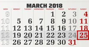 Vector calendar of march 2018. With slidable red frame highlighting the beginning of summertime Royalty Free Stock Image