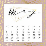 Vector calendar for May 2018. Royalty Free Stock Photo
