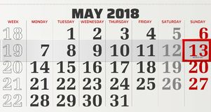Vector calendar of may 2018 Royalty Free Stock Images