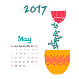 Vector calendar for May 2017 with vase. Vector calendar template for May 2017 with vase Royalty Free Stock Photos