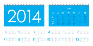 Vector calendar for 2014 Stock Photos