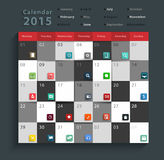 Vector calendar 2015 modern business flat icons set Royalty Free Stock Images