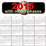 Vector calendar for 2015 with moon phases Royalty Free Stock Photos