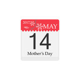 Vector Calendar of Mother`s day, 14th May, 2017. Calendar flat icon, mother`s day for 2017, 14th may vector graphics, a colorful solid pattern on a white Royalty Free Stock Photos