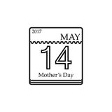 Vector Calendar of Mother`s day, 14th May, 2017. Calendar line icon, mother`s day for 2017, 14th may vector graphics, a linear pattern on a white background, eps Stock Images