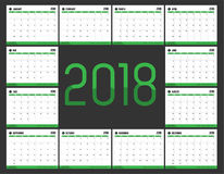 Vector of Calendar 2018 new year with green bar color and clean Stock Image