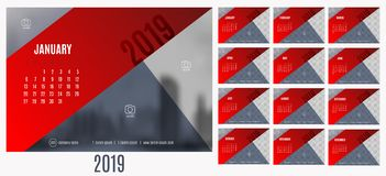 Vector of Calendar New year 2019 with 12 month calendar with mod. Ern red and blue triangle style,week start at Sunday,Template for place your photo Royalty Free Illustration