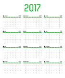 Vector of Calendar 2017 new year ,12 month calendar set with gre. En bar color and clean modern style,Week start at Sunday Royalty Free Stock Images