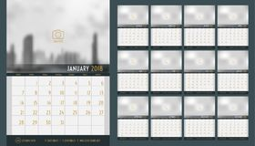 Vector of Calendar 2018 new year ,12 month calendar set with nav. Y blue modern style,week start at Sunday,Template for place your photo Stock Illustration