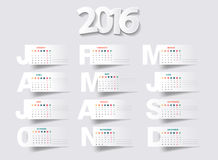 Vector calendar 2016 new year stock illustration