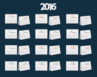 Vector calendar 2016 new year Stock Photo