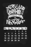 Vector calendar for November 2018. Hand drawn lettering quotes for calendar design Stock Photos