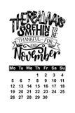 Vector calendar for November 2018. Hand drawn lettering quotes for calendar design Stock Photo