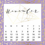 Vector calendar for November 2018. Hand drawn letters for calendar design Royalty Free Stock Image
