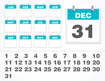 Vector Calendar Number. Set of vector calendar number. The element are isolated and you can create all the necessary combinations Stock Photography