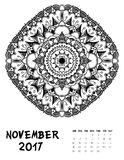 Vector calendar 2017. Ornament card with mandala. Calendar made in vector. Colorful design for any other kind of design, birthday and other holiday Royalty Free Stock Photos