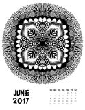 Vector calendar 2017. Ornament card with mandala. Calendar made in vector. Colorful design for any other kind of design, birthday and other holiday Royalty Free Stock Photography
