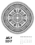 Vector calendar 2017. Ornament card with mandala. Calendar made in vector. Colorful design for any other kind of design, birthday and other holiday Stock Photos