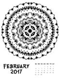 Vector calendar 2017. Ornament card with mandala. Calendar made in vector. Colorful design for any other kind of design, birthday and other holiday Stock Images