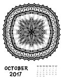 Vector calendar 2017. Ornament card with mandala. Calendar made in vector. Colorful design for any other kind of design, birthday and other holiday Royalty Free Stock Images
