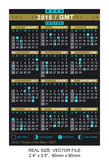 Vector calendar 2015 with Phases of the moon/ GMT Stock Images