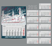 Vector calendar 2016 - Planner for  month Royalty Free Stock Images
