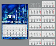 Vector calendar 2016 - Planner for  month Stock Photos