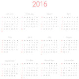 Vector calendar for 2016. Vector calendar planner schedule 2016 week starts with sunday Royalty Free Stock Photo