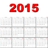 Vector calendar for 2015. Vector calendar planner schedule 2015 week starts with sunday american stile Royalty Free Stock Photography