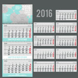 Vector calendar 2016 - Planner for three month. Includes space for photo and text in  delicate bubbles style Royalty Free Stock Image